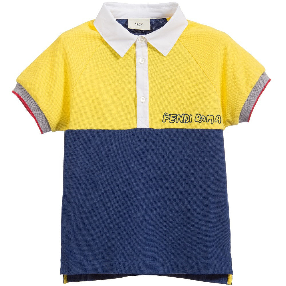 Fendi Boys Navy Blue and Yellow Polo Shirt Boys Polo Shirts Fendi [Petit_New_York]