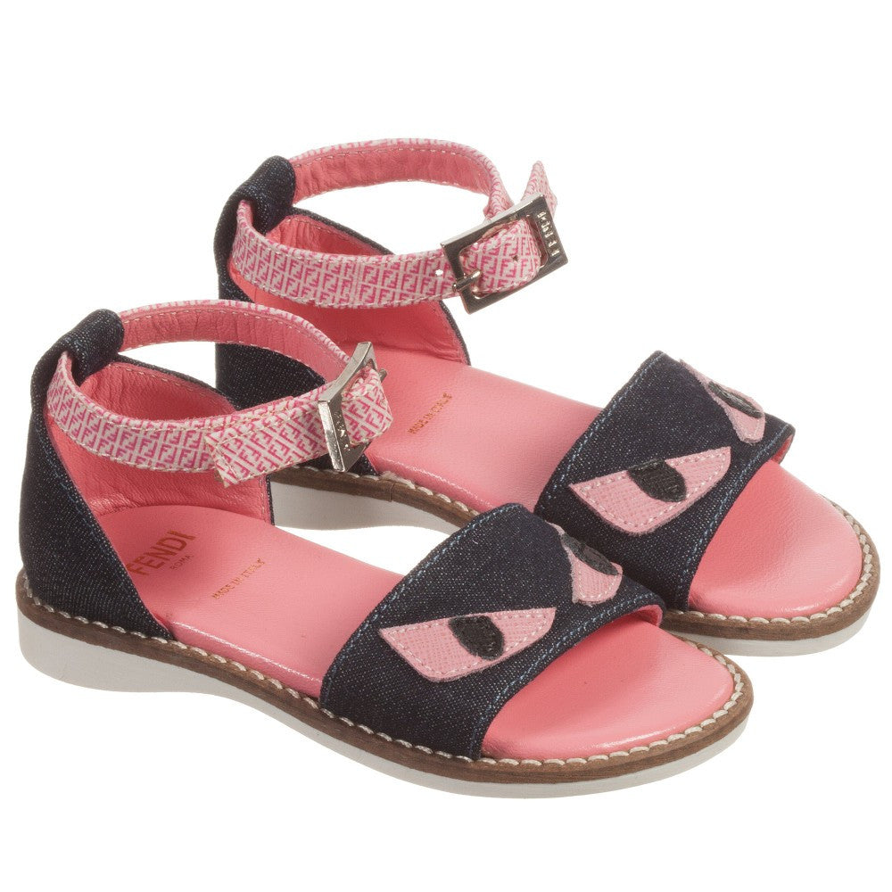 Fendi Girls Pink Leather and Denim 'Monster' Sandals Girls Shoes Fendi [Petit_New_York]