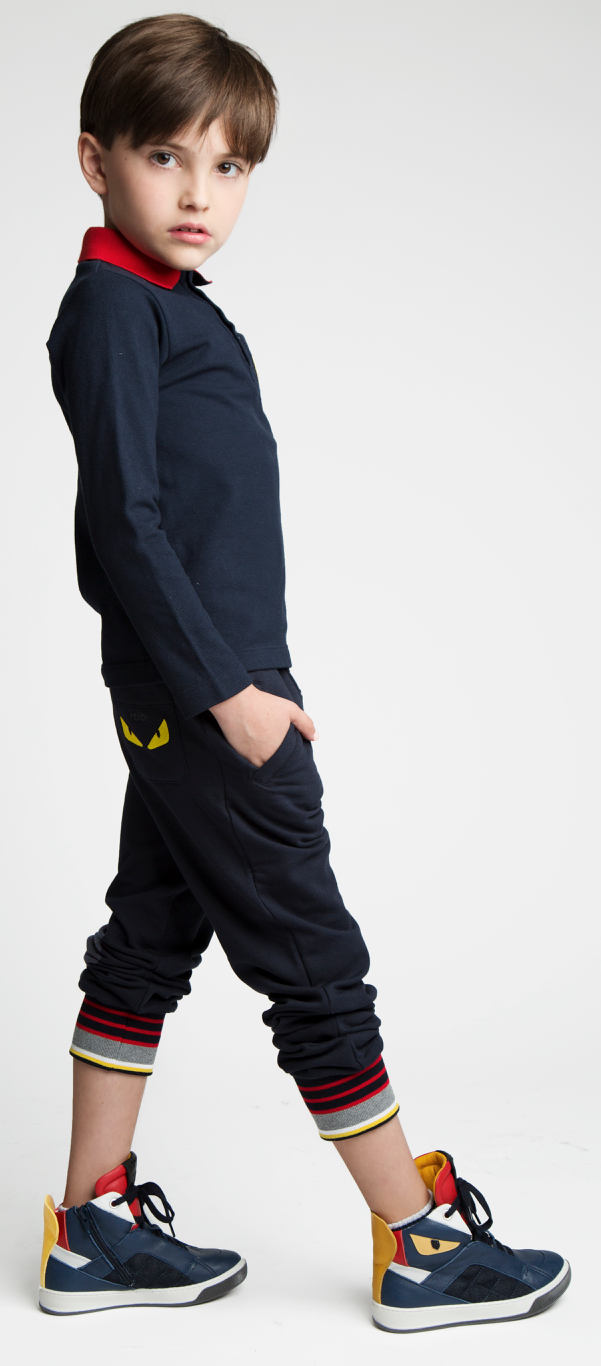 Fendi Boys Luxury Navy Sweatpants Boys Pants Fendi [Petit_New_York]