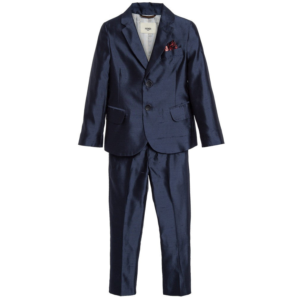 Fendi Boys Silk Navy Suit Boys Suits & Blazers Fendi [Petit_New_York]