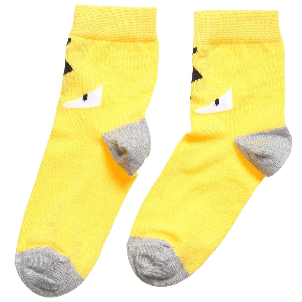 Fendi Baby Yellow 'Monster' Socks Baby Underwear, Socks & Tights Fendi [Petit_New_York]
