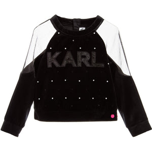 Karl Lagerfeld Girls Velour 'Crazy Party' Sweater Girls Sweaters & Sweatshirts Karl Lagerfeld Kids [Petit_New_York]