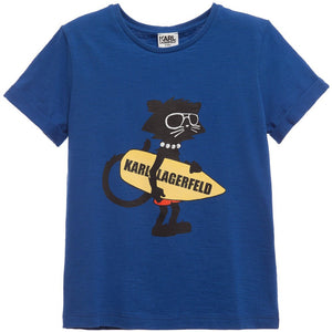 Karl Lagerfeld Boys Surfer Cat T-shirt Boys T-shirts Karl Lagerfeld Kids [Petit_New_York]