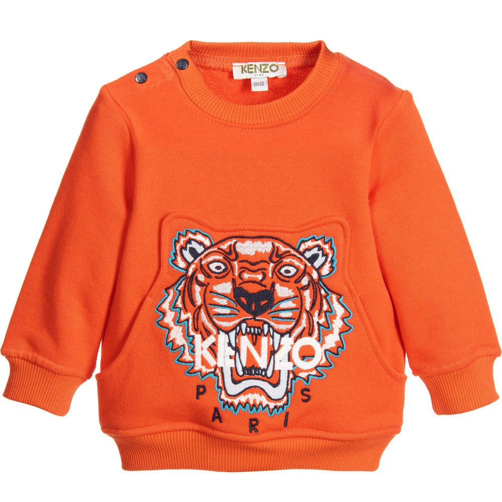 Kenzo Baby Boys Orange Tiger Logo Sweatshirt Baby Sweaters & Sweatshirts Kenzo Paris [Petit_New_York]