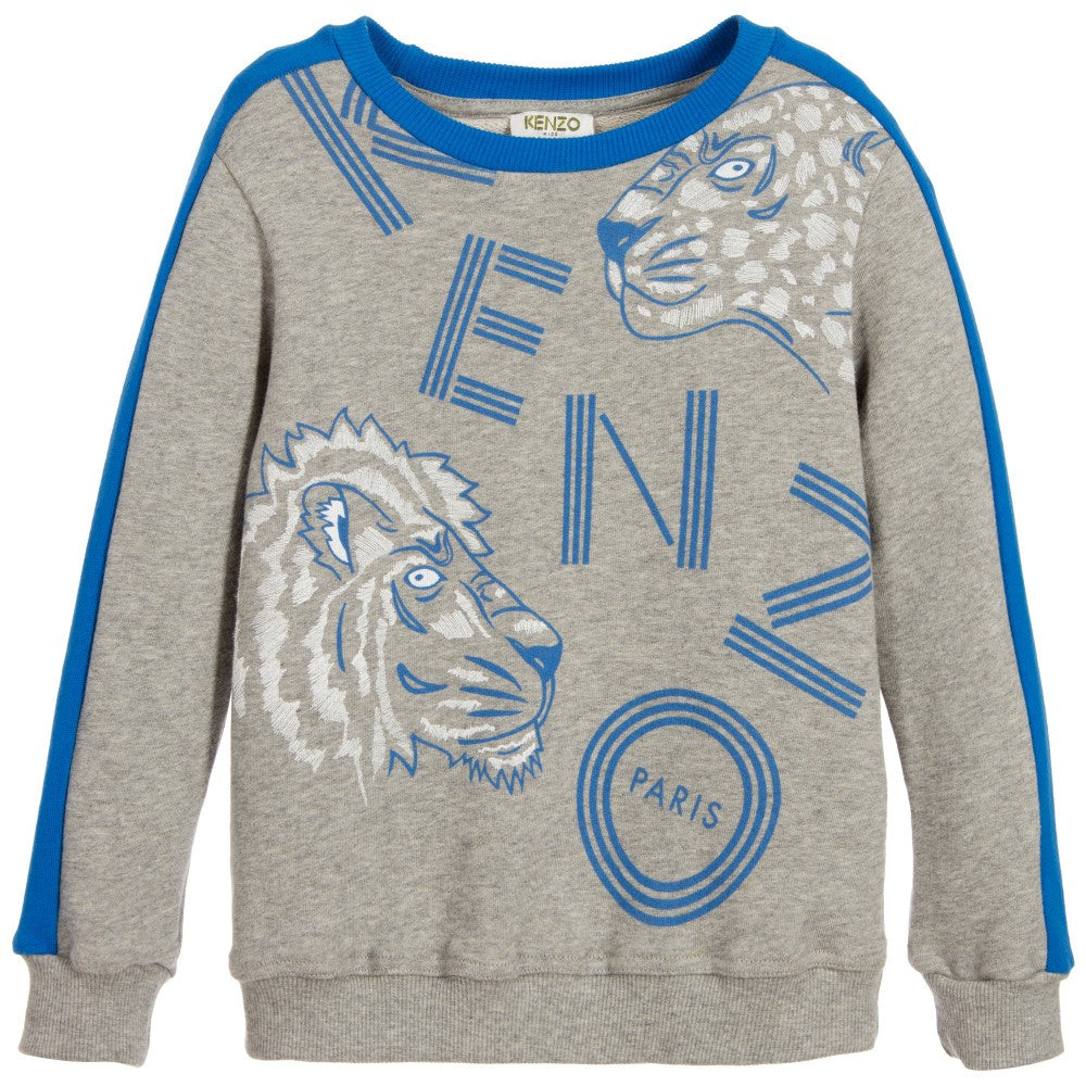 0a7c3a910df Kenzo Boys Grey Wild Cat Sweatshirt Boys Sweaters   Sweatshirts Kenzo Paris   Petit New York