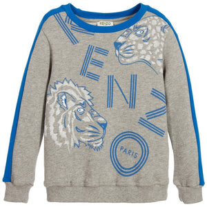 Kenzo Boys Grey Wild Cat Sweatshirt Boys Sweaters & Sweatshirts Kenzo Paris [Petit_New_York]