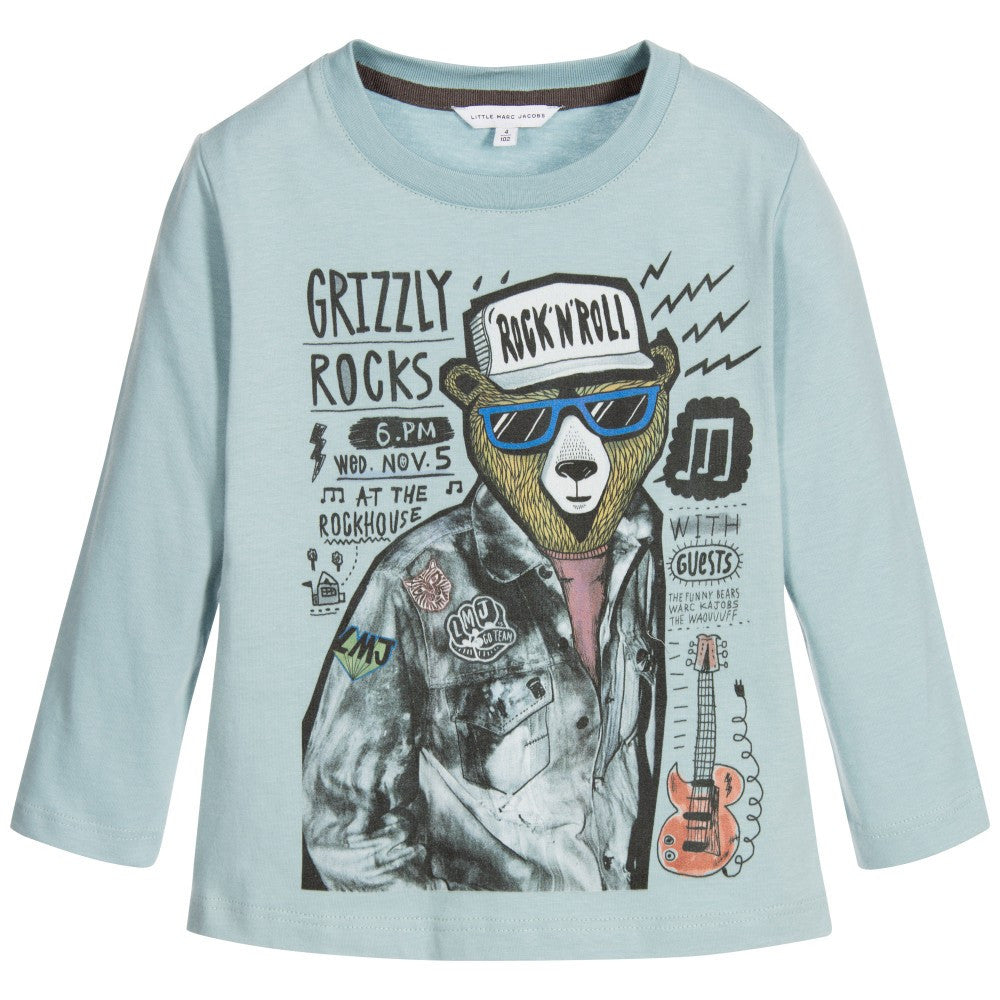 Little Marc Jacobs Boys Blue Bear Printed T-shirt Boys T-shirts Little Marc Jacobs [Petit_New_York]