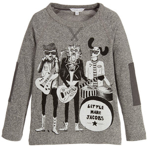 Little Marc Jacobs Boys Grey Animal Band Printed T-shirt Boys T-shirts Little Marc Jacobs [Petit_New_York]
