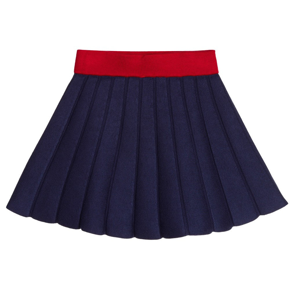 Little Marc Jacobs Girls Navy & Red Knit Skirt Girls Skirts Little Marc Jacobs [Petit_New_York]