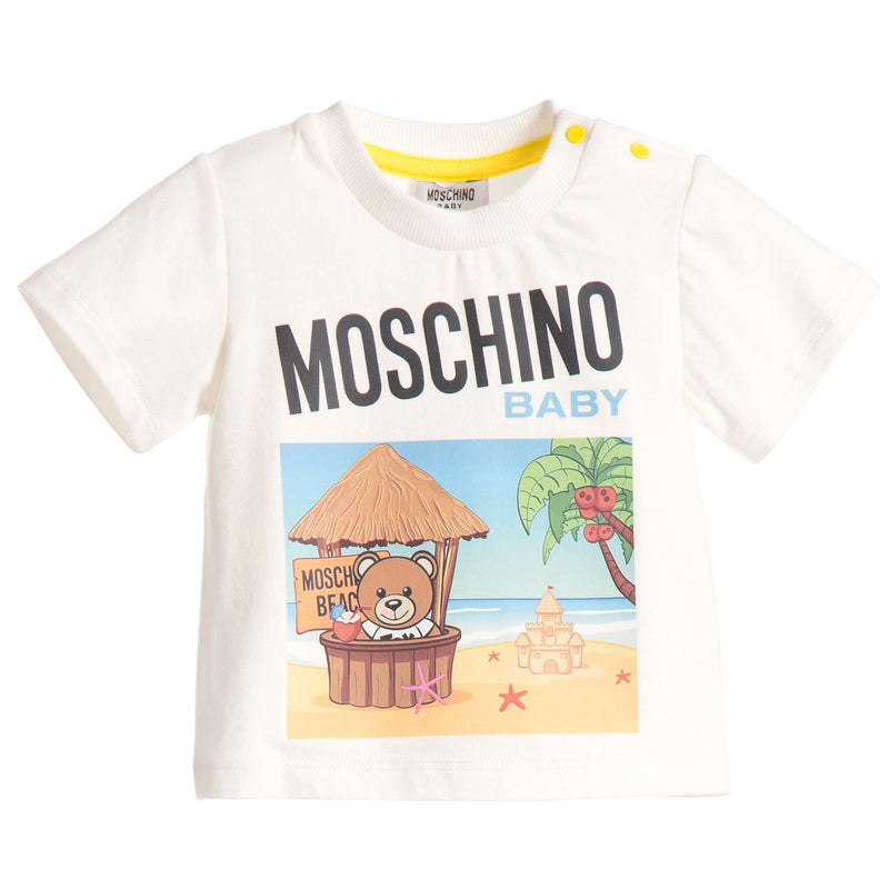 Moschino Baby 'Baby Teddy' Beach Tee Baby Tops Moschino [Petit_New_York]