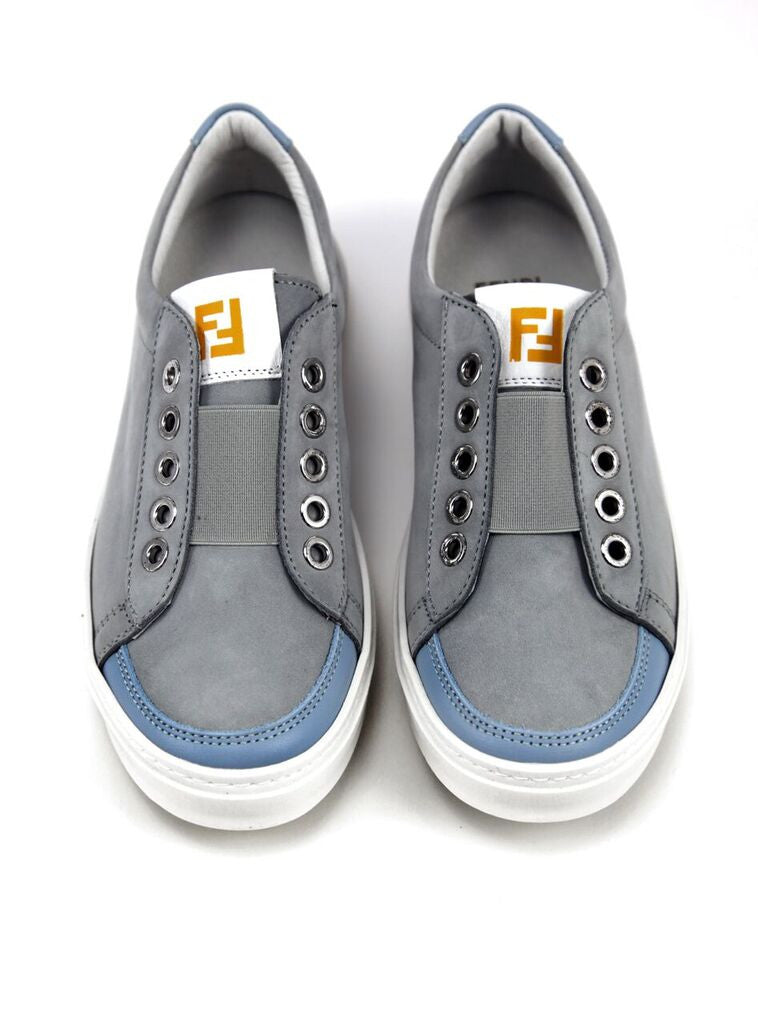 Fendi Boys Grey Suede Sneakers Boys Shoes Fendi [Petit_New_York]