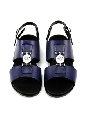 Versace Boys Navy Leather Sandals Boys Shoes Young Versace [Petit_New_York]