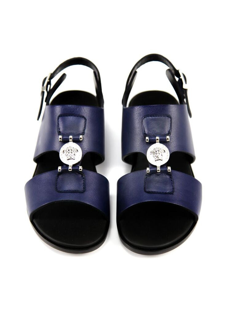 5f3bf04ac Versace Boys Navy Leather Sandals Boys Shoes Young Versace  Petit New York