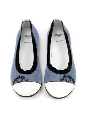 Fendi Girls Denim Ballet Flats Girls Shoes Fendi [Petit_New_York]