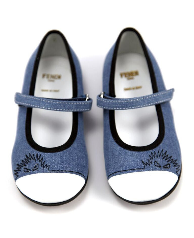 Fendi Baby Girls Denim Strap Flats Baby Shoes Fendi [Petit_New_York]