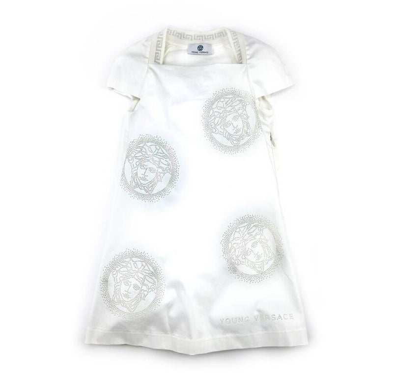 Versace Girls White Medusa Dress Girls Dresses Young Versace [Petit_New_York]