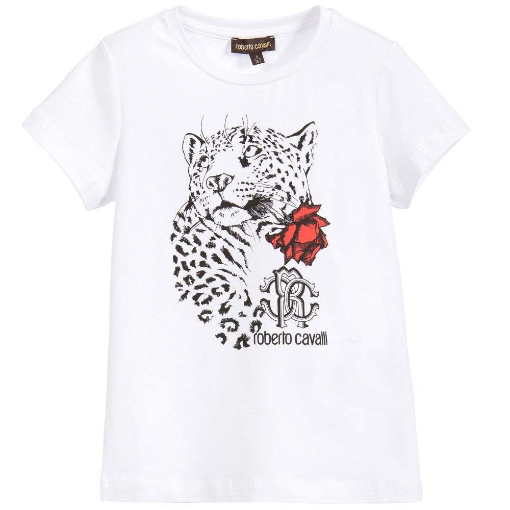 Roberto Cavalli Girls White Leopard T-shirt Girls Tops Roberto Cavalli Junior [Petit_New_York]