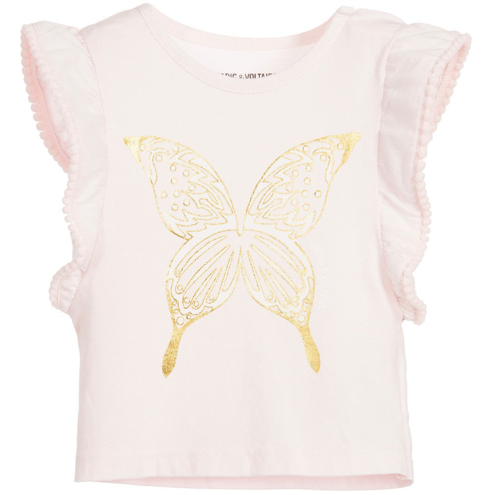 Zadig & Voltaire Baby Girls Pink & Gold Butterfly Top Baby Tops Zadig & Voltaire [Petit_New_York]