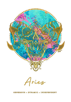 Zodiac Foiled Art - Aries