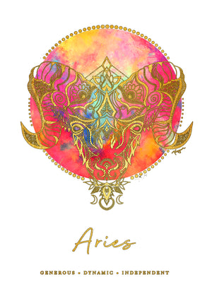 Zodiac Art Print + FREE Necklace Giftpack: Aries