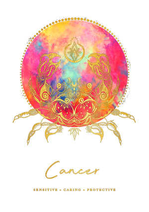 Zodiac Art Print + FREE Necklace Giftpack: Cancer