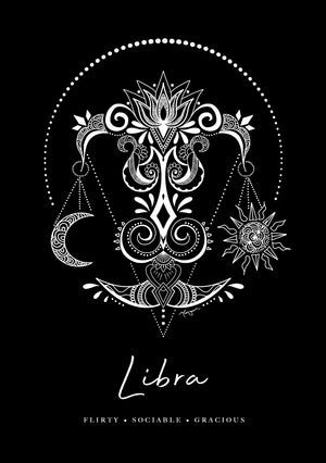 Zodiac Art Print + FREE Necklace Giftpack: Libra