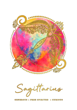 Zodiac Art Print + FREE Necklace Giftpack: Sagittarius