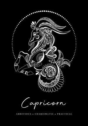 Zodiac Art Print + FREE Necklace Giftpack: Capricorn