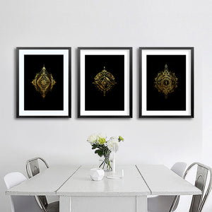SET OF 3 'Elder Forest' Gold Foil Mandala PRINTS