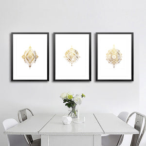 SET OF 3 'Elder Forest' Gold Foil on white PRINTS