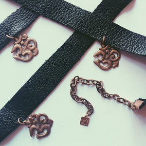 AUM Leather Choker