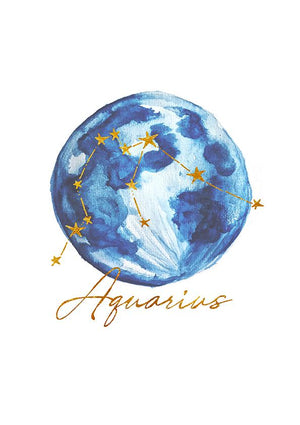 Zodiac Art Print + FREE Necklace Giftpack: Aquarius