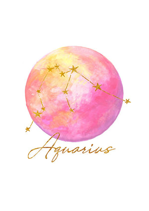 Zodiac Foiled Art Print - Aquarius