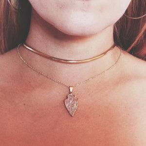 Quartz Crystal + 24k Gold Arrowhead Necklace