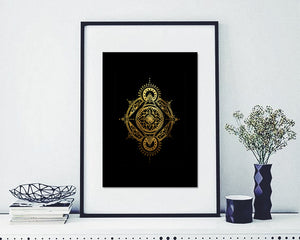 """Emergence"" Gold Foil on Black"