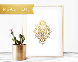 """Emergence"" Gold Foil White Mandala"