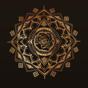 Beauty Unusual Gold Foil Rose Mandala