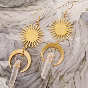 Crystal Sun Earrings in Clear Quartz