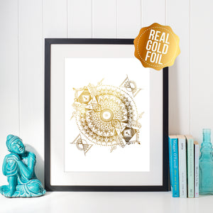 """Inception"" Gold Foil Mandala"