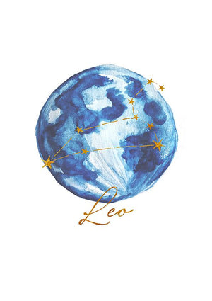 Zodiac Art Print + FREE Necklace Giftpack: Leo