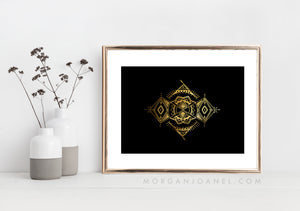"""Protection"" Gold Foil on Black"
