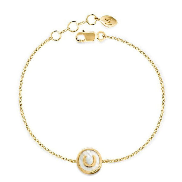 18k Gold and White Mother of Pearl Horseshoe Bracelet