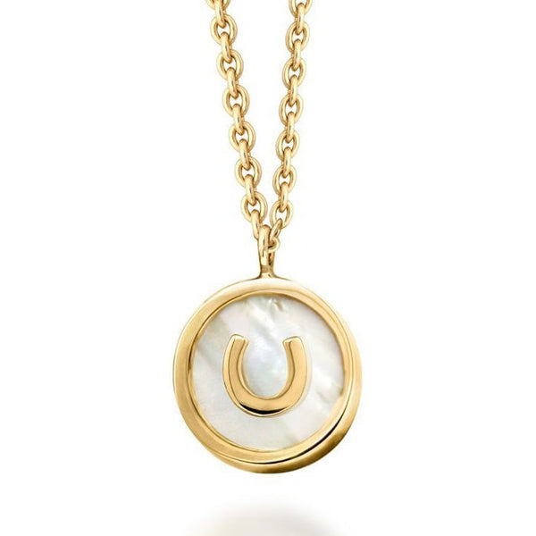 18k Gold White Mother of Pearl Horseshoe Necklace
