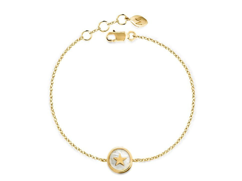 18k Gold and White Mother of Pearl Star Bracelet