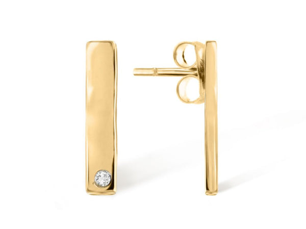 18k Gold Vertical Earrings with Inset Diamond