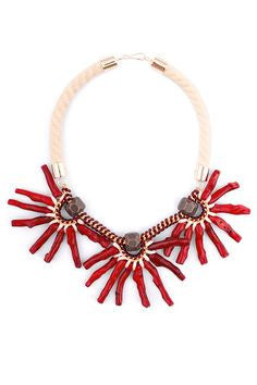 YAYOI Jewelry at Boyajian Red Coral Necklace Handmade Statement