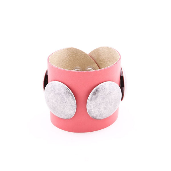 Italian Leather Cuff Bracelet, Pink, Toscannia at Boyajian