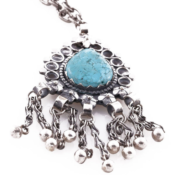 minu jewels long necklace silver with turquoise pendant middle eastern style jewelry