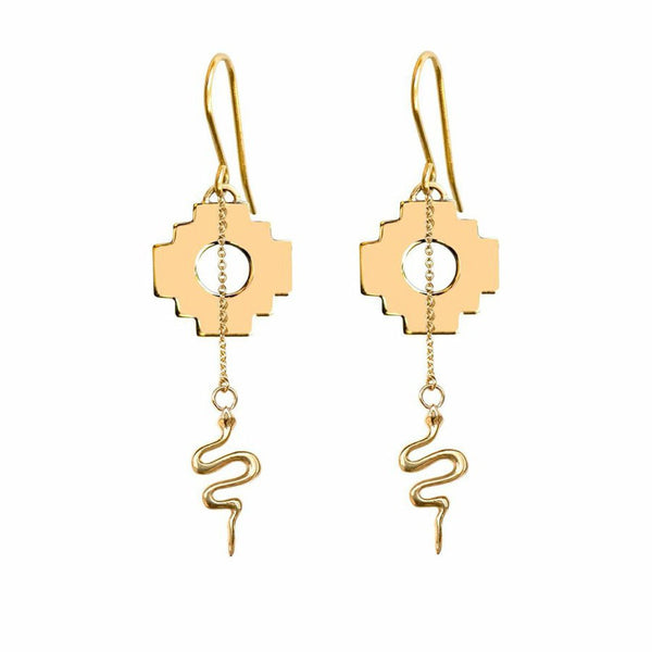 Chakana Cross & Snake Earrings (Fair Trade Gold / Silver)