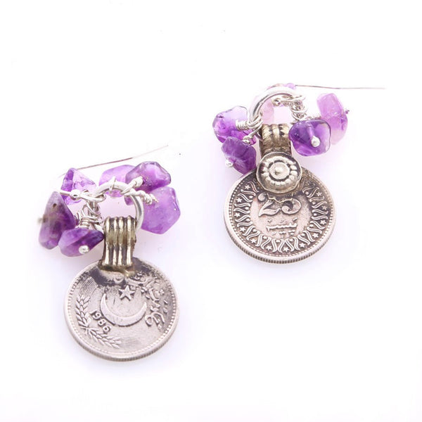 Minu Jewels Amethyst Handmade Coin Earrings Middle Eastern Style